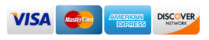 Accepted credit cards. Visa, Mastercard, American Express, Discover